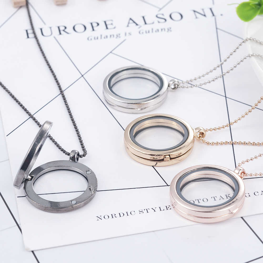Fashion Ronde Living Memory Floating Charm Glas Medaillon Hanger Lange Ketting Ketting Geschenken Vrouwen Accessoires