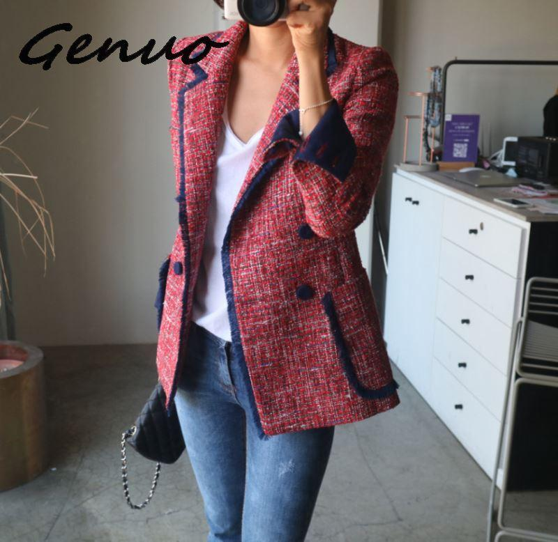 Genuo New Double Breasted Suit Jacket Female Women Blazers And Jackets Casual Chic British Tassel Patchwork Tweed Blazers Coats