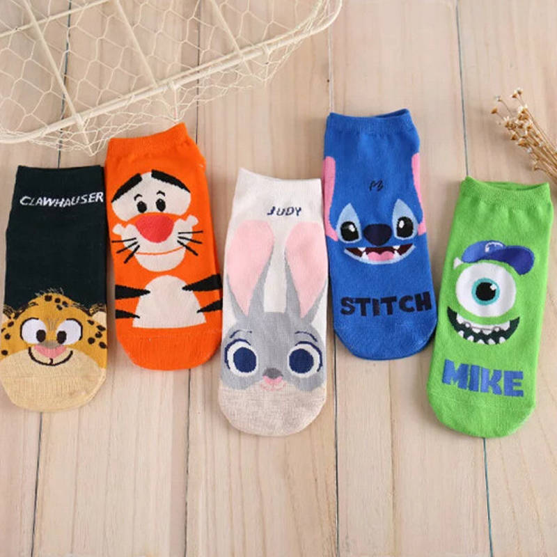 New Cartoon Lovely Ladies Boat Socks Cute Animals Women Socks Kawaii Hot Sale Creative Sockls