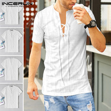 2020 Summer Men's Fashion V Neck Shirt Slim Short Sleeve Shirts Man Steam Punk Lace Up Tops Solid Color Streetwear Blouse S-5XL