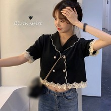 Women Tops and Blouses Summer Black Short Sleeves Retro Elegant Double-breasted Doll Collar
