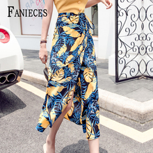 цена на Sexy Waist Split Abstract Print thin Mesh Skirts ins fashion Network master Women Summer Multicolor Asymmetrical Hem Long Skirt