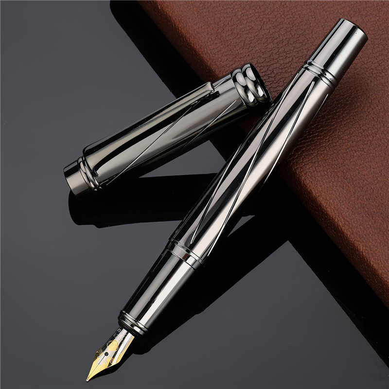 0.5mm Nib Luxury Silver Plating Fountain Pen High Quality Standard Type Ink Pen Writing Office School Stationery Supplies 03872