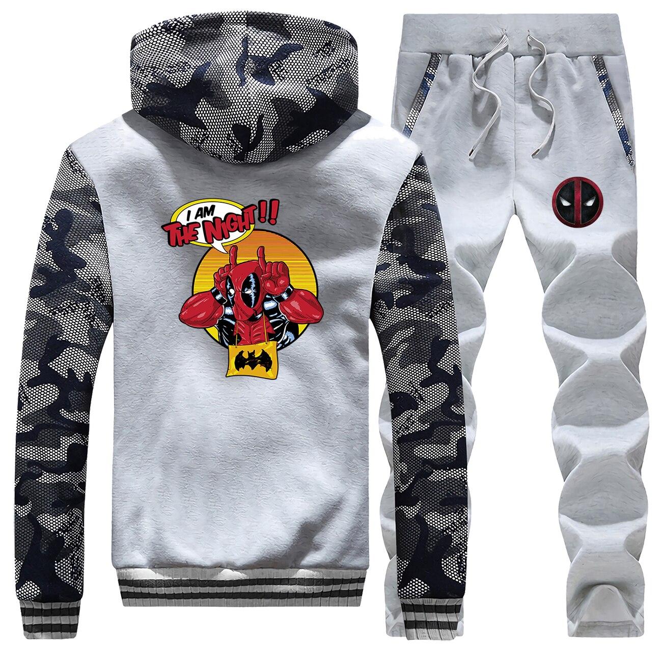 Funny Deadpool Print Men Tracksuit Set Fleece Hoodie Jacket+Pants Sweatshirts 2 Piece Set Hoodies Sporting Suit Superhero Coat