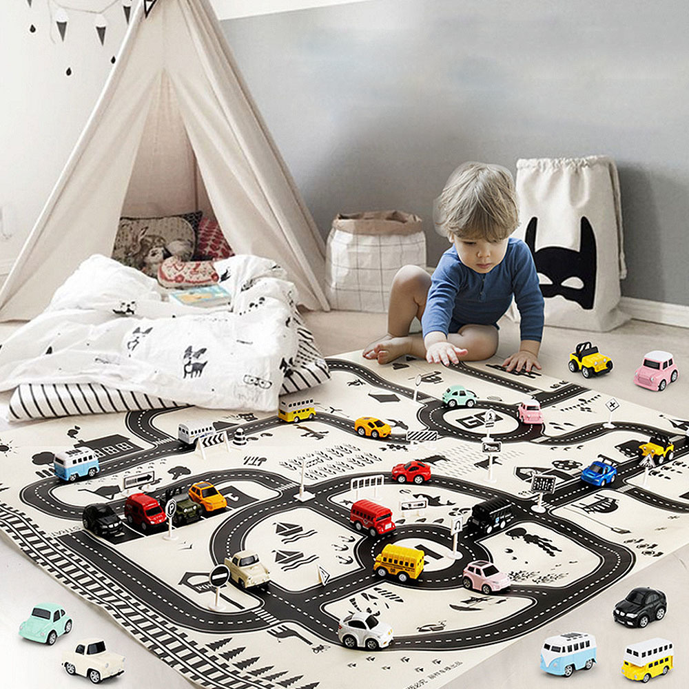 130*100CM Big Kids Play Mat Car City Scene Traffic Highway Map Tapete Infantil Educational Toys For Children Climb Brinquedos