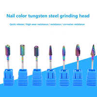 Broca de uñas de carburo de tungsteno de arco iris profesional, máquina de pedicura de manicura, taladro eléctrico y herramientas de accesorios