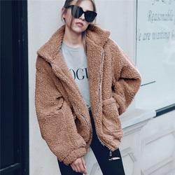 Jesień kurtka zimowa płaszcz damski 2019 moda koreański styl plus rozmiar kobiety teddy futro kobiet na co dzień kurtka kobieta pusheen 2