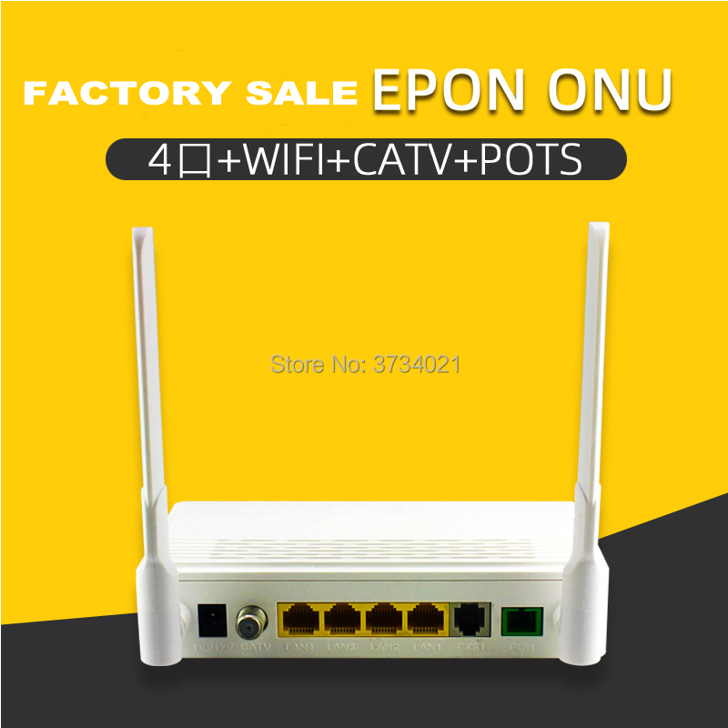 Free Shipping EPON ONU ONT 3*10/100M +1*10/100/100M +CATV +TEL +Wifi Epon Onu Ont For Fiber Optic Network Router