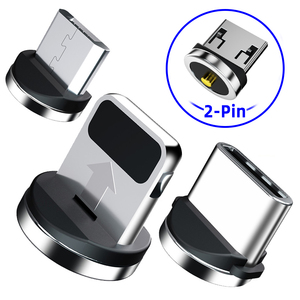 Adaptador de Cable magnético de 2 pines, enchufe de cargador magnético, puntas Micro USB tipo C para iPhone, conector magnético antipolvo, carga de teléfono móvil