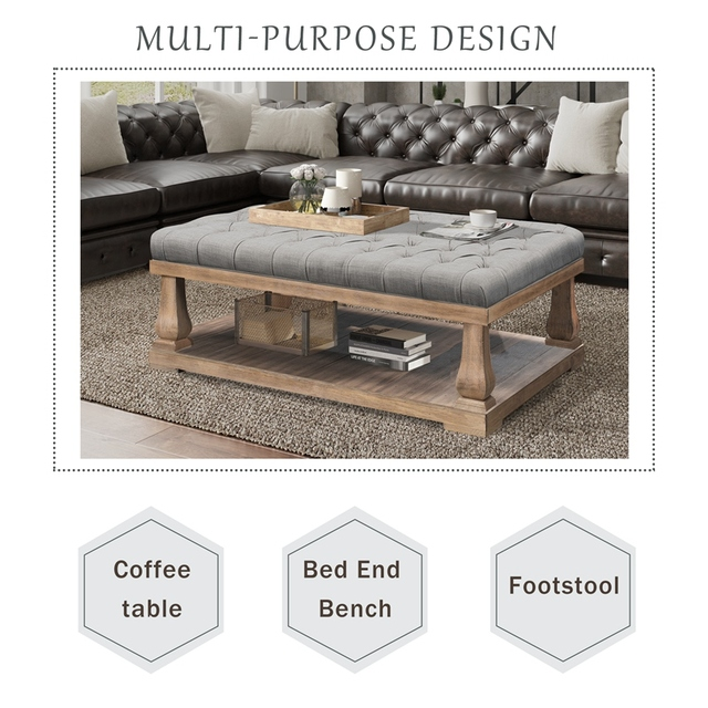 Upholstered Storage Bench With Wood Shelf 3