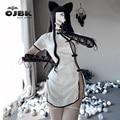 Japanischen Anime Dr Stein Sexy Dessous Für Frauen Cheongsam Cosplay Spielen Kostüme Charming Seite Offen Design Porno Outfit Neue 0707