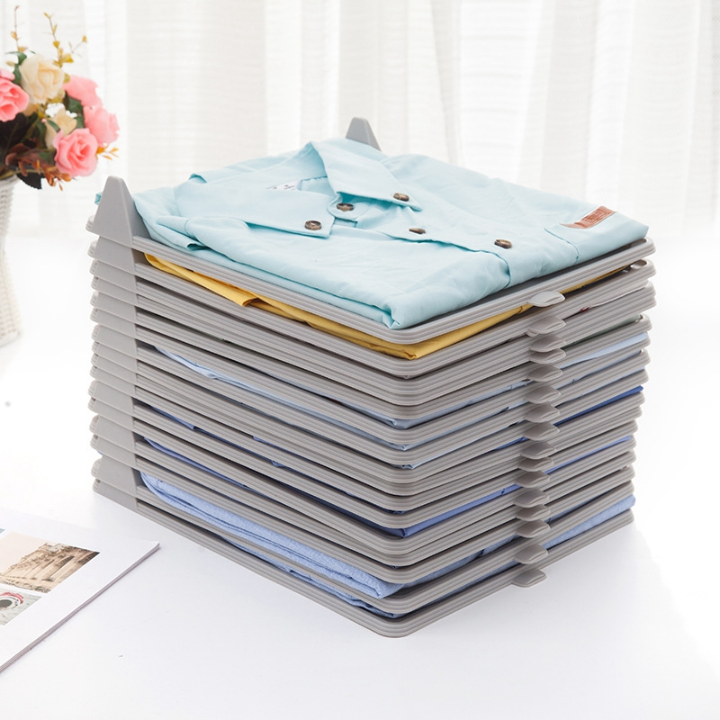 10Pcs Practical Overlapeable Dress Board Wardrobe T-Shirts Clothes Organizer Drawer Cabinet Board Cloth Storage Tool