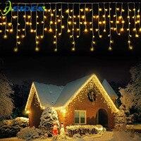 Guirlandes lumineuses de noël à LED, rideaux féeriques, chute d'eau, décoration extérieure, pour jardin, maison, mariage, 4M, 0.4-0.6m