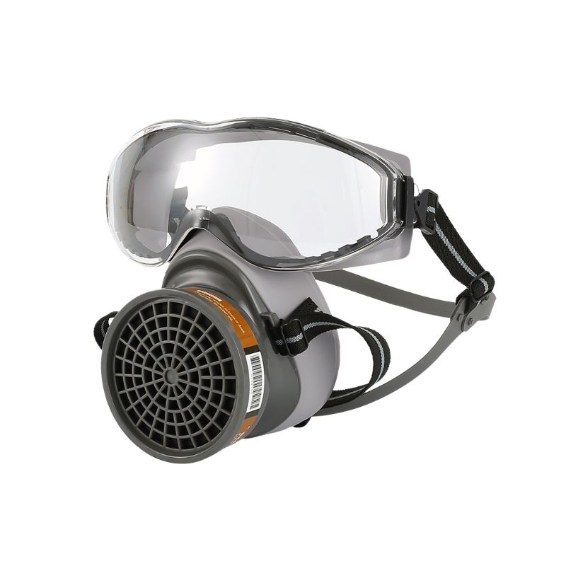 1Set Half Face Gas Mask With Goggles Chemical Dust Mask Filter Breathing Respirators For Painting Spray Welding Industrial Acces