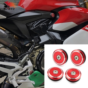 New Red 4 Pieces Motorcycle Aluminum Frame Hole Cover For Ducati 899 959 1199 1299 Panigale/Panigale S Panigale V4 S 2012-2018