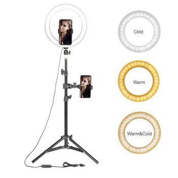 10 #8222 lampa pierścieniowa LED fotograficzne Selfie pierścień oświetlenie ze stojakiem na Smartphone Youtube makijaż wideo Studio statyw pierścień światła tanie i dobre opinie Walking Way CN (pochodzenie) Ue wtyczka Bi-color 3200 K-5600 K 1 -100 Phone Charger Power Bank Usb Interface 20cm 128 Pcs