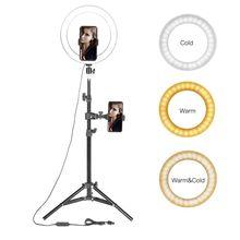"""10 """"lampa pierścieniowa LED fotograficzne Selfie pierścień oświetlenie ze stojakiem na Smartphone Youtube makijaż wideo Studio statyw pierścień światła"""