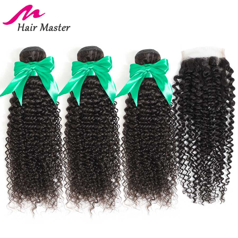 Hair Master Curly Bundles With Closure Peruvian Hair Remy Lace Closure With Bundles Extensions Human Hair 3 Bundles With Closure-in 3/4 Bundles with Closure from Hair Extensions & Wigs