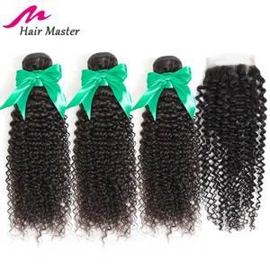 Image 2 - Saç ana kıvırcık demetleri ile kapatma perulu saç Remy dantel kapatma ile demetleri uzantıları İnsan saç kapatma ile 3 demetleri