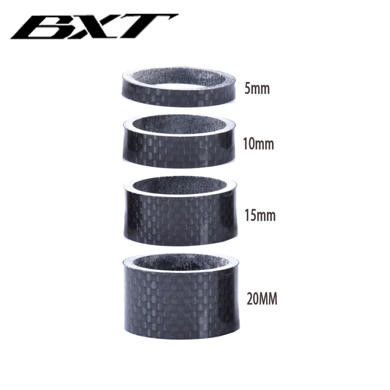 "1 1/8"" Full Carbon Fibre 3k glossy Spacer Headset Fork Washer 5mm 10mm 15mm 20mm 4pcs/set bicycle parts(China)"