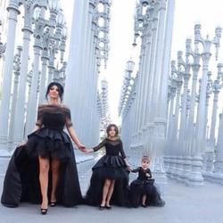 Детские черные Пышные Платья Hi-Lo с длинными рукавами Для Девочек Платья с цветочным узором для девочек, с бантом, для свадебной вечеринки, дн...