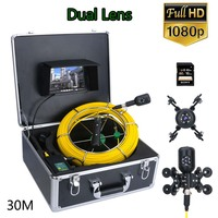 7inch DVR 30M 1080P HD Dual Camera Lens Drain Sewer Pipeline Industrial Endoscope Pipe Inspection Video Camera