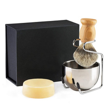 Shaving Brush Set 4pcs Pure Badger Hair Brush Wood Handle Goat Milk Soap Stainless Steel Shaving Stand Bowl Kit Men Gift