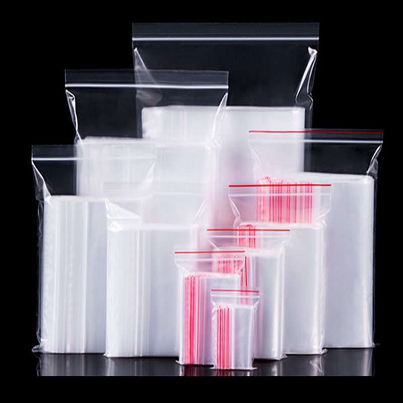 100PCs Plastic Bags Ziplock Food Packaging Jewelry Small Zip Lock Bags Clear Fresh-keeping Dustproof Resealable Candy StorageBag