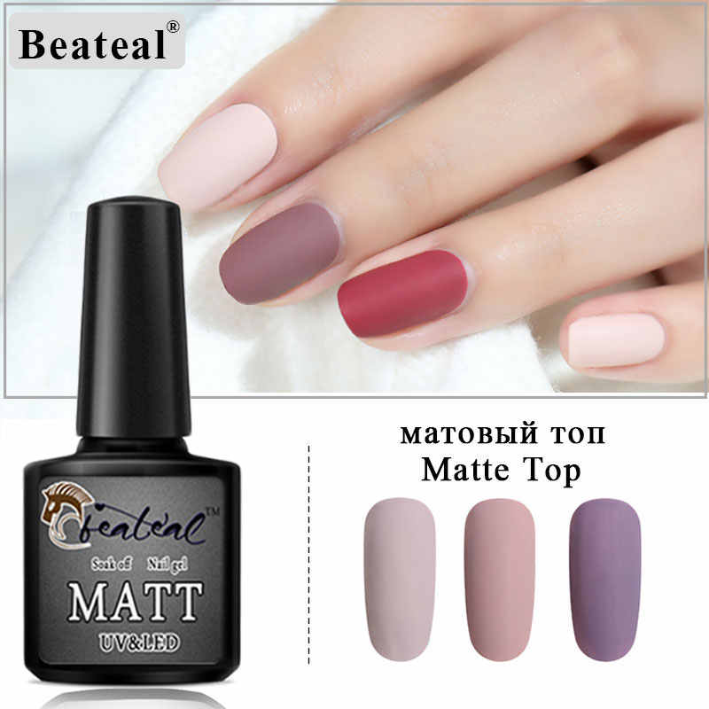 Beateal 8 Ml Matt Gel Top Coat Gel Voor Nail Base Uv Gehard Verbeteren Soak-Off Dull Frosted Oppervlak permanente Gel Vernissen