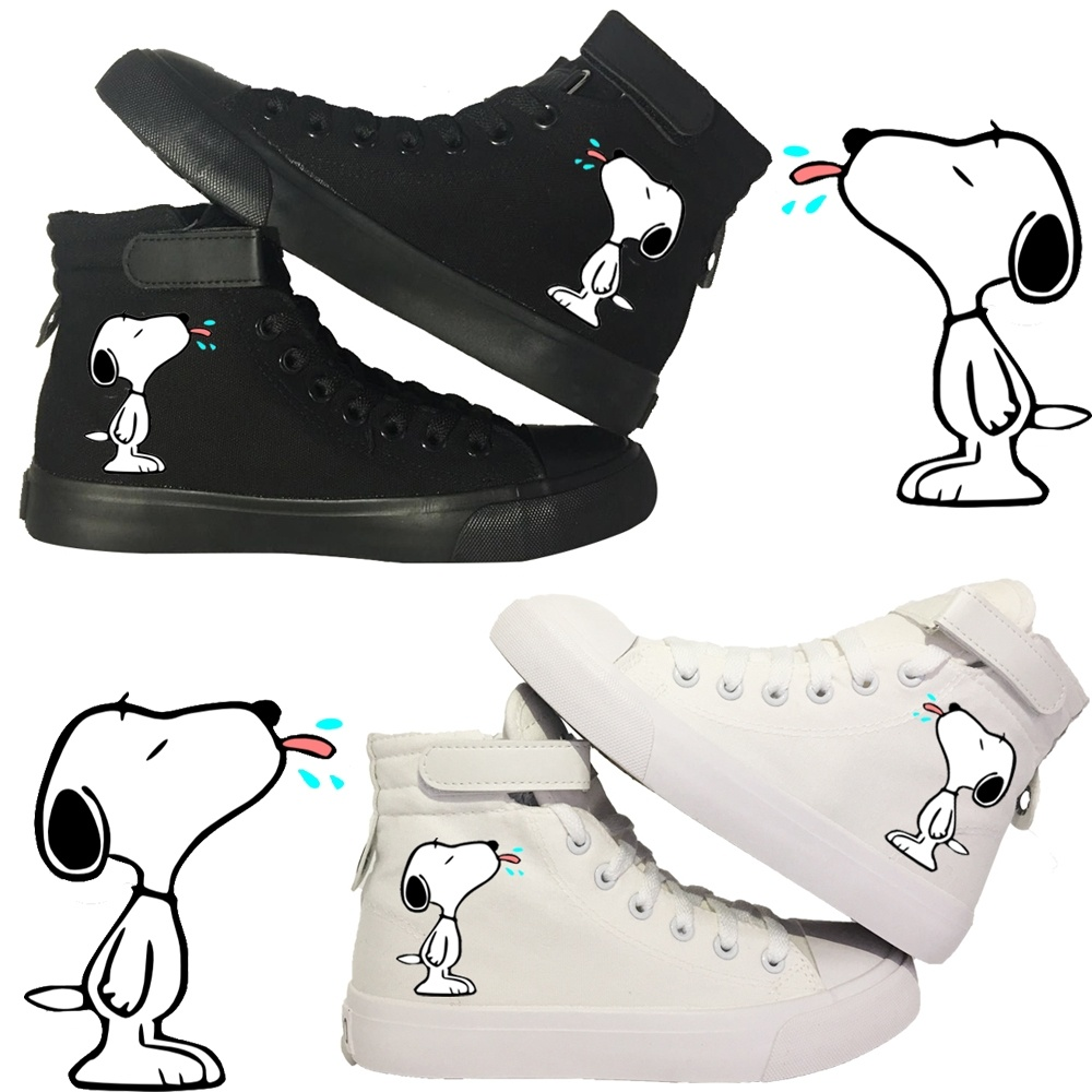 Cute Snoopy Printed High Top Canvas Shoes Preppy Style Sneakers For Women Girls Femme