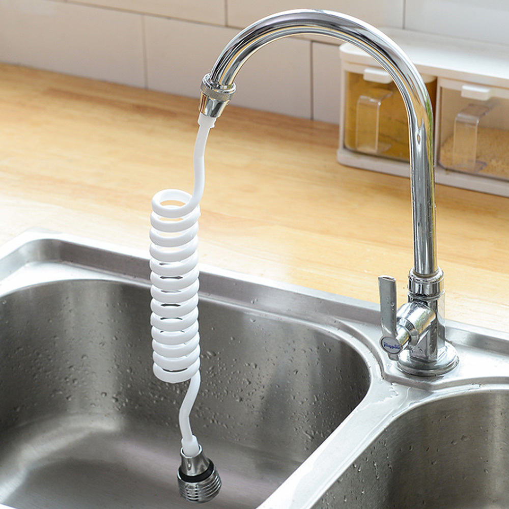 Retractable PVC Extension Tube Tap Water Filter Shower Kitchen Faucet Extender Water-Saving Nozzle Faucet Filter