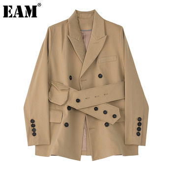 [EAM]  Women Khaki Button Split Big Size Blazer New Lapel Long Sleeve Loose Fit  Jacket Fashion Tide Spring Autumn 2020 1Z726