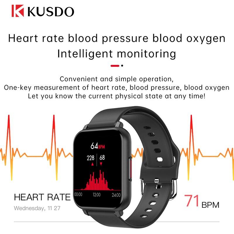 cheapest KUSDO 2020 New Smartwatch IP67 Waterproof Smart Watch Men Women Sport Fitness Bracelet Health Monitor For Xiaomi Apple Android