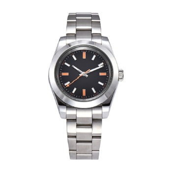 New Men's Automatic Mechanical Watch 39MM Black Dial Orange Pointer Stainless Steel Case Luminous Mechanical Men's Watch