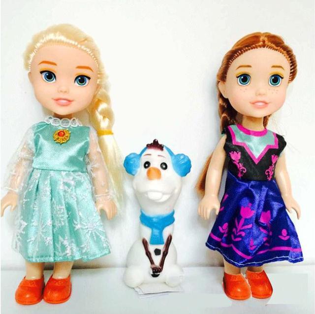 3pcs Frozen2 Princess Anna Elsa Dolls For Girls Toys Princess Anna Elsa Dolls 8 styles of clothes 16cm Small Plastic Baby Dolls
