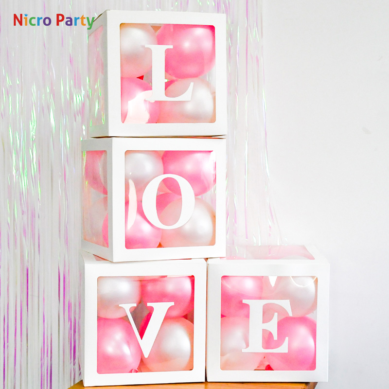 Nicro Alphabet Transparent White Pink Box Packing Name Balloon DIY Letter Box Baby Shower LOVE Wedding Birthday Party Decor