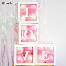Nicro-boîte transparente, rose et blanc pour ballons d'emballage lettre à décorer boîte pour ballons avec nom, décor pour fête prénatale amour mariage anniversaire