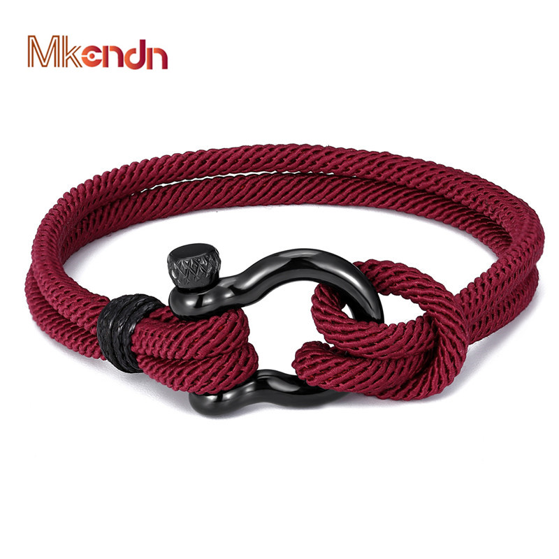 MKENDN Navy style Camping Parachute cord Survival Anchor Bracelet Men Women with Black Stainless Steel Sport Buckle