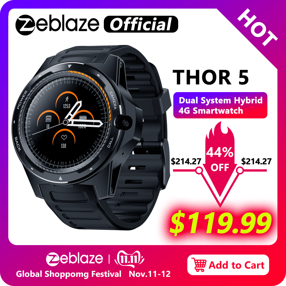 "New Flagship Zeblaze THOR 5 Dual System Hybrid Smartwatch 1.39"" AOMLED Screen 454*454px 2GB+16GB 8.0MP Front Camera Smart watch-in Smart Watches from Consumer Electronics"