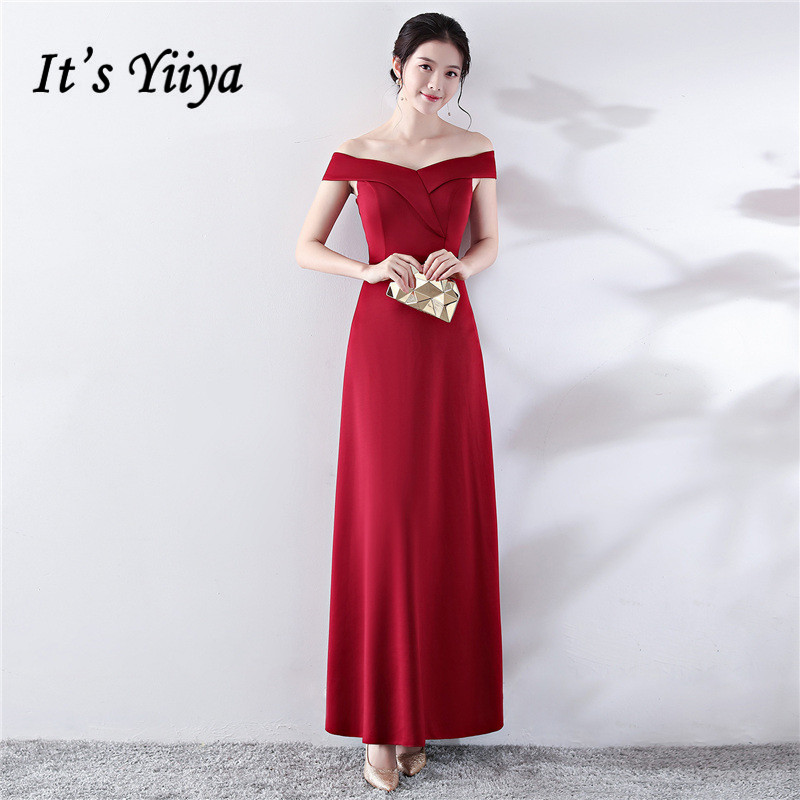 Burgundy Evening Dress It's Yiiya DX398 Short Sleeve Off The Shoulder Evening Dresses 2020 Ruched Boat Neck Robe De Soiree