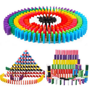 Domino-Blocks Educational-Toys Montessori Wooden Colourful Children for Early-Learning