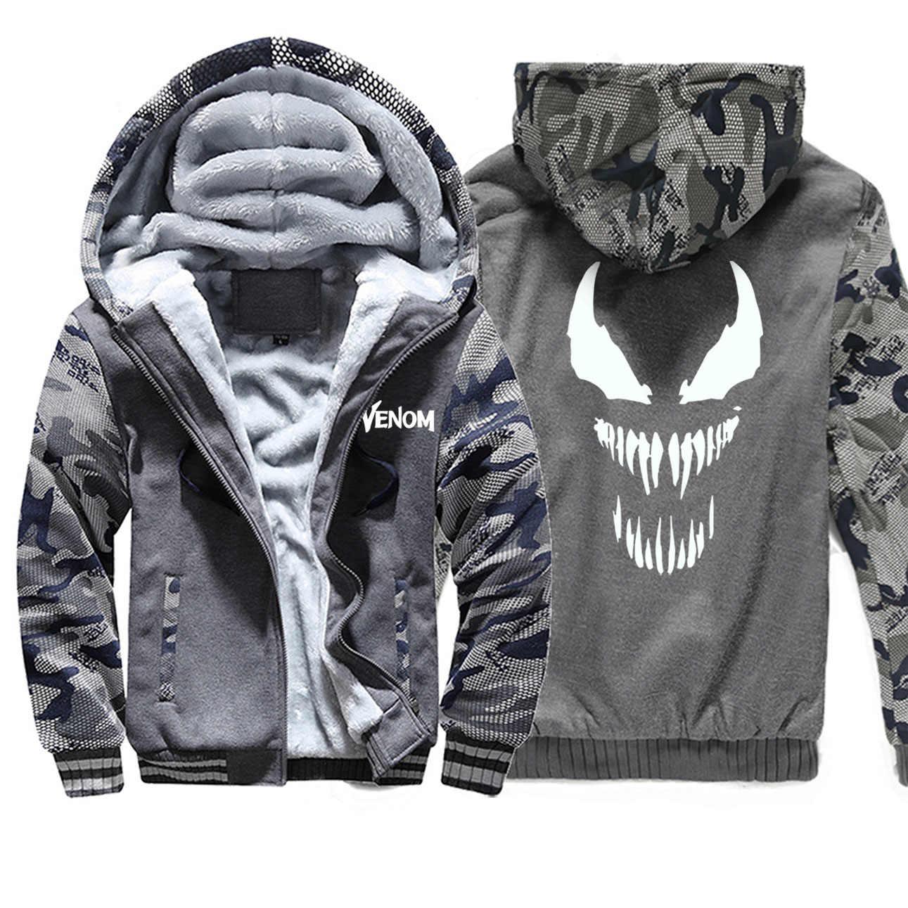 Mode Film Sweatshirt Männer Venom Superheld Anime Camo Hoodie Jacke Männer Lustige Fleece Sportswear Harajuku Streetwear Mantel