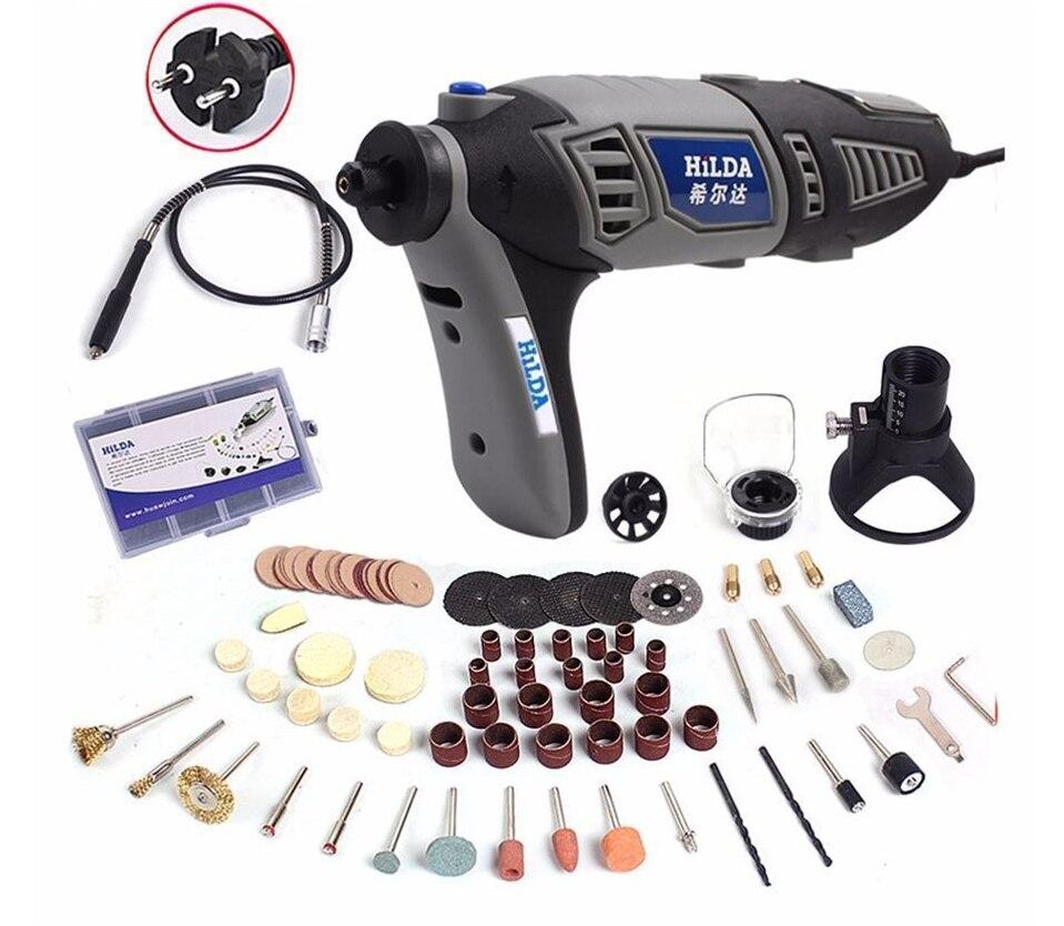 HILDA 220V 350W velocidad Variable estilo dremel herramientas eléctricas rotativas Mini molinillo accesorios conjunto herramientas de carpintería
