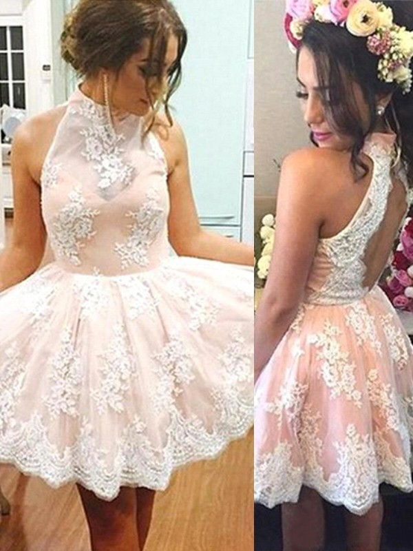 2020 Elegant Homecoming Dress A-Line/Princess Sleeveless High Neck Lace Short/Mini Dresses For Party