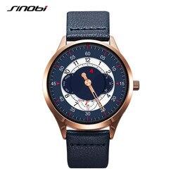 SINOBI Men Watch Blue Military Leather Quartz Top Brand Luxury Wristwatch Man Sports Watch Gear Creative Clock Montre Homme
