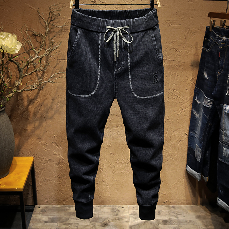 KSTUN Black Jeans for Men Elastic Waist Drawstring Jogger Pants Teens Yong Boys Trousers Casual Trousers Relaxed Tapered Jeans 11