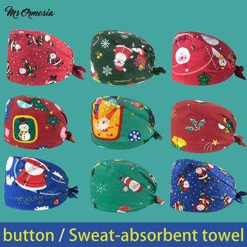 Wholesale Unisex Christmas Printed Scrub Hat Pet Grooming Beauty Salon Working Cap Elastic Breathable Custom Logo