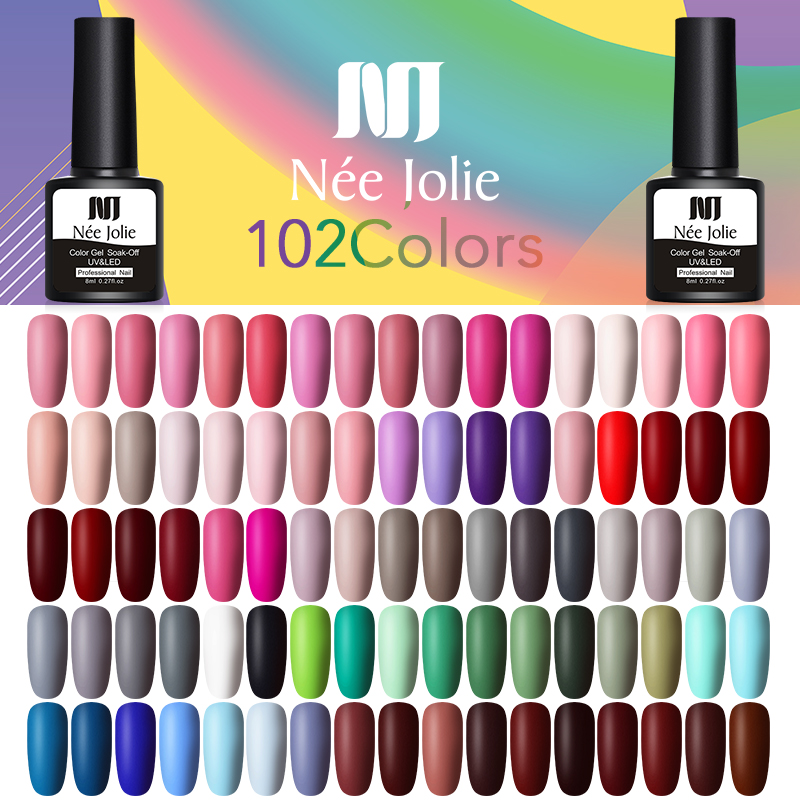 NEE JOLIE 8ml Matte Top Coat Color UV Gel Nail Polish Gray Series Semi Permanent Soak Off UV Gel Varnish DIY Nail Art Gel Paint