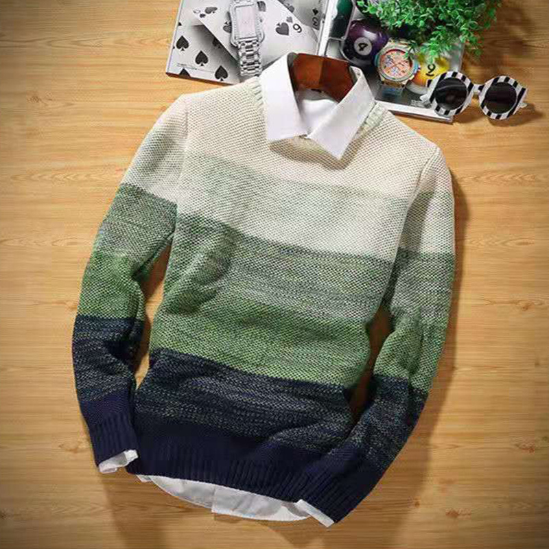 Mens Fashion Casual Stripe Sweater Color Block Knitwear Jumper Pullover Hot