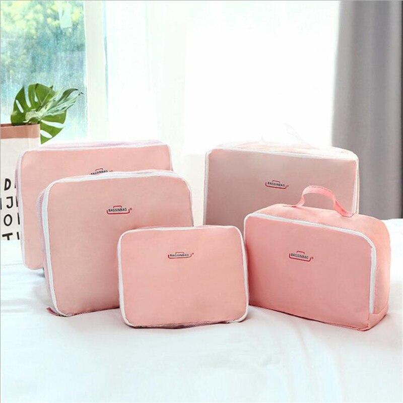 High Quality Oxford Cloth Travel Mesh Bag Luggage Organizer Packing Cube Organiser Travel Bags Travel Bags Packing Cube 5PCS/Set